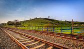 Railway and green hill — Foto de Stock