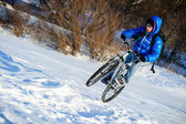 Biker snow — Foto Stock
