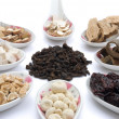 Chinese herbs blends on white — Stock Photo