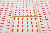 Red arrow sticker — Stock Photo