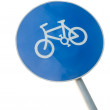 Bicycle lane sign on a pole — Stock Photo