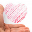 Hand holding a heart sketch — Stock Photo