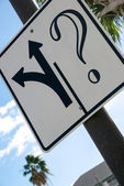 Fork sign and a question mark — Stock Photo