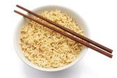 Top view noodles and chopsticks with clipping path — Stock Photo