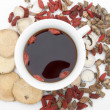 Stock Photo: Top view chinese herbs blends and herb tea