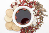 Top view chinese herbs blends and herb tea — Stock Photo