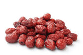 Dried jujube on white,traditional chinese herbal medicine — Stock Photo