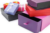 Different gift boxes on white with clipping path — Stock Photo