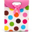 Front view colorful gift box on white with clipping path — Stock Photo