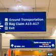 Arrival and departure gates signs — Stock Photo
