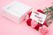 Card of happy mother's day and present box and carnations — Stock Photo