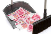 RMB in rubbish bin and a  besom, monetary concept — Stock Photo