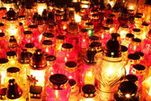Lighted cemetery candles — Foto Stock