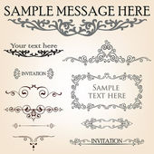 Calligraphic retro vignette elements vector set — Stock Vector
