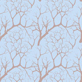 Autumn park trees seamless pattern in chinese style — Stock Photo