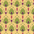 Floral seamless pattern with flower motif in a retro style on yellow background — Stock Vector #18850223