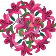 Flower bouquet from pink and crimson lily — Stockvectorbeeld