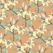 Seamless pattern with yellow lily — Stockvectorbeeld