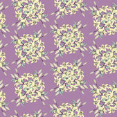 Seamless pattern with yellow lily on lilac background — Stock Vector