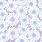 Seamless pattern with white chamomile on lilac background — Stock Vector
