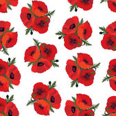 Poppies seamless floral pattern — Stock Vector