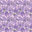 Printseamless pattern background with lilac and pink bluebells — Stock Vector
