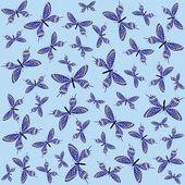 Seamless background with blue butterflies — 图库矢量图片