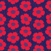 Seamless pattern with red ornamental flowers backgroud — Stock Vector