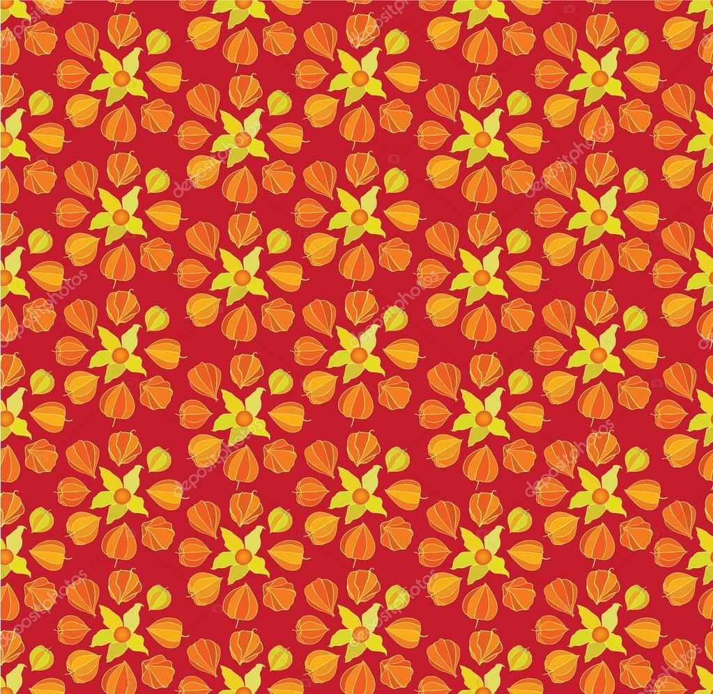 手绘复古装饰背景.冬季樱桃 silmen  蓬勃发展华丽无缝模式.