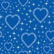 Seamless pattern with hearts from blue snow flakes, background print — Stock Vector