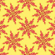 Seamless pattern with floral starry motif on yellow background - Stock Vector