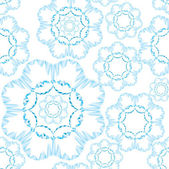 Seamless pattern with lacy flowers on light blue background — Stock Vector