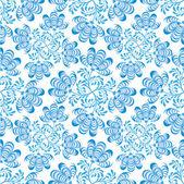 Seamless mönster med blommor och blad på vit bakgrund i rysk stil — Stockvektor