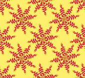 Seamless pattern with floral starry motif on yellow background — Stock Vector