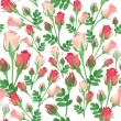 Royalty-Free Stock Vector Image: Flower seamless background with pink and red roses on white