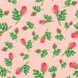 Seamless pattern with flowers rose on pink background — Stock Vector