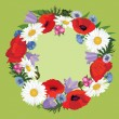 Flower border with copy space. Wreath with meadow flowers poppy and chamomile - Stock Vector