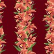 Seamless floral vector border. Red flower garland on brown background. Pattern with flowers orchids — Stock Vector #19100055