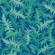 Seamless pattern with plant motif, fern leaves on dark blue background — Stock Vector