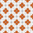 Seamless pattern with floral motif on white background - Grafika wektorowa