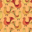 Seamless pattern from birds in ethnic graphic style - Stock vektor