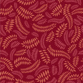 Seamless pattern with leaves on red background, Print — Stock Vector