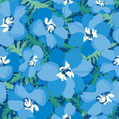 Seamless pattern with blue flowers delphinium — Stock Vector