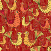 Seamless pattern from birds in ethnic graphic style — Stock Vector