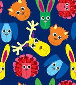 Fundo sem costura bebê multicolor com brinquedos — Vetor de Stock