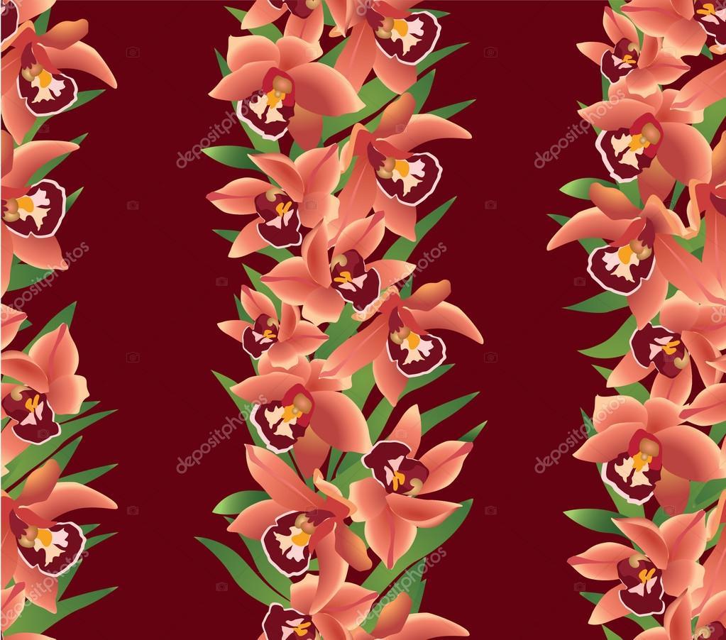 无缝的花卉矢量边框.棕色背景上的红色花环