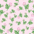 Seamless pattern with pink rose, background — Stock Vector