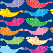 Royalty-Free Stock Vector Image: Multicolor Fish Seamless Pattern on blue background. Sea Life Vector Illustration