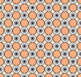 幾何学的な飾り, 黒、バラ色から抽象的なシームレス パターンと灰色円の背景 — ストックベクタ