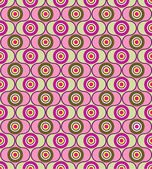 Abstract seamless pattern from geometric ornament, pink, gray and green circle background — Stock Vector